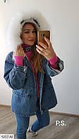 Парка женская теплая джинсовая с натуральным мехом на купюшоне