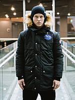 Куртка зимняя парка длинная спортивная теплая черная мужская Nasa, фото 1