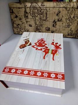 Коробочка подарочная в виде книги шкатулки  с рисунком елочка 29.5 см