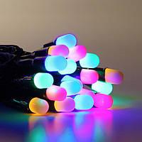 """Гирлянда светодиодная нить """"Большая линза"""" 6м, 100 led  черный провод - цвет разноцветный"""