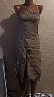 Бежевый коттоновый сарафан без брителей