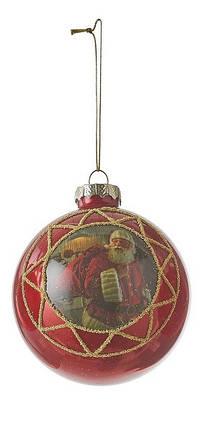 """Елочный стеклянный шарик """"Саната"""", 8 см., """"House of Seasons"""", цвет красный, фото 2"""
