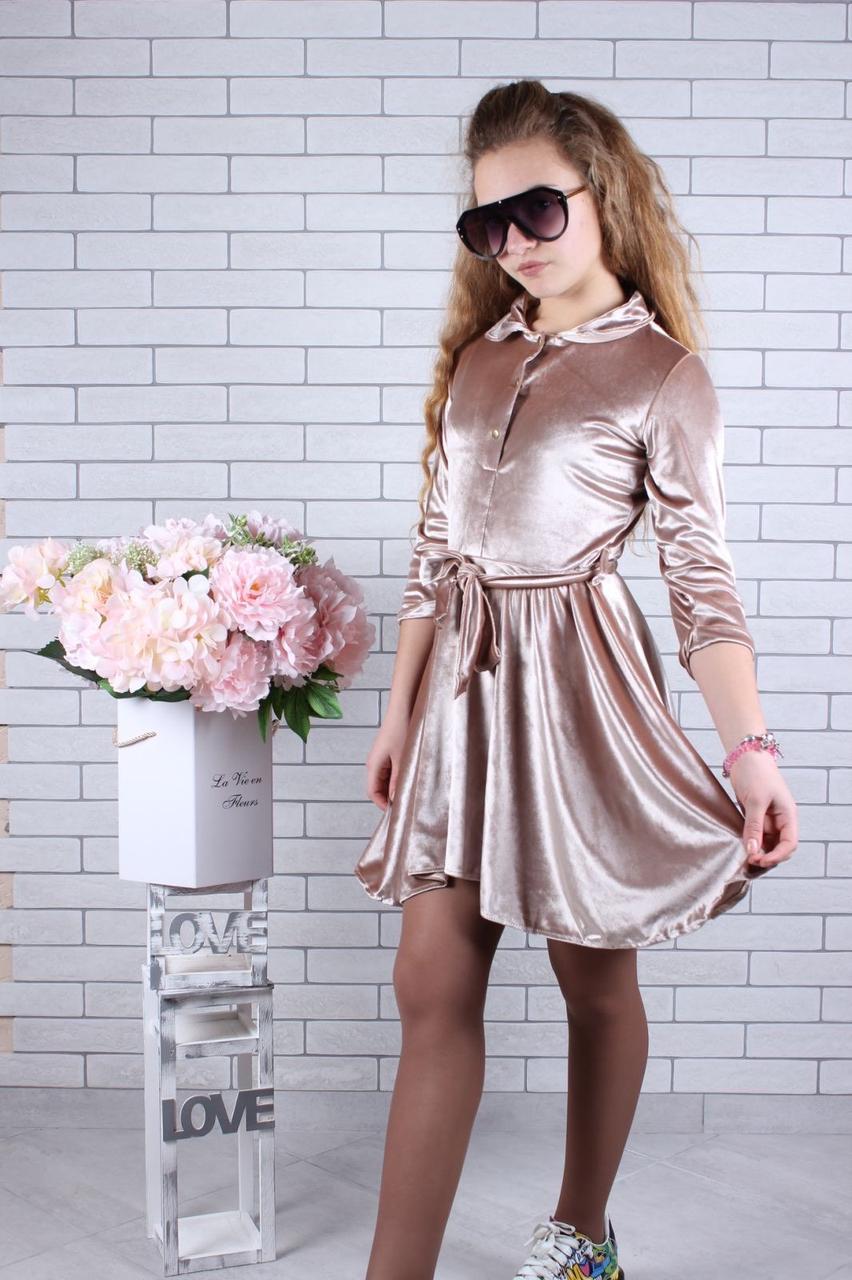 Подростковое платье для девочки велюровое р.134-164 опт