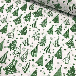 Ткань хлопковая, зеленые Новогодние елки на белом