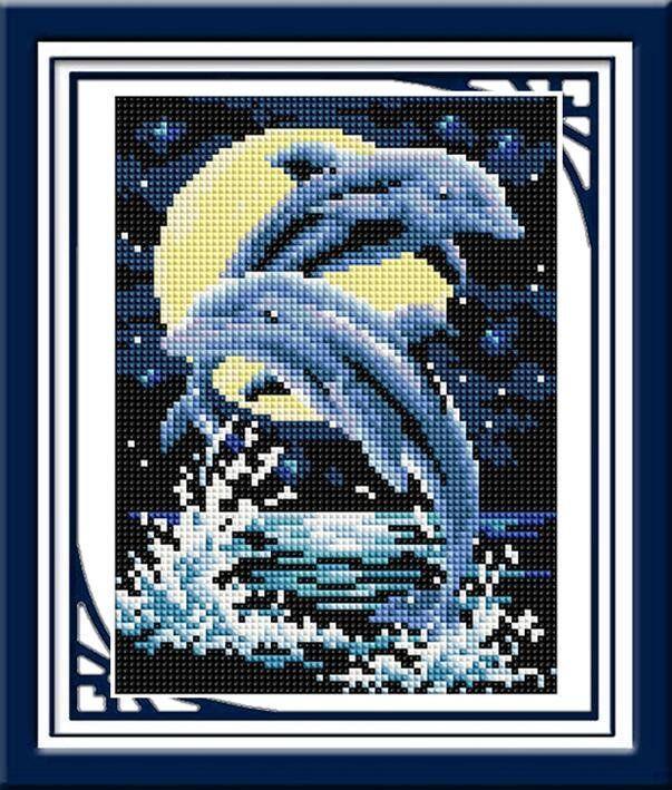 30245 Набор алмазной мозаики Дельфины