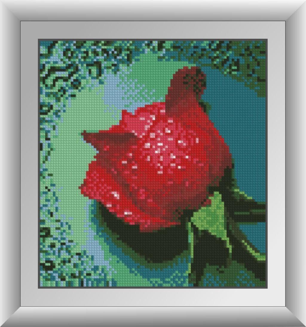 30288 Набор алмазной мозаики Роса на красной розе