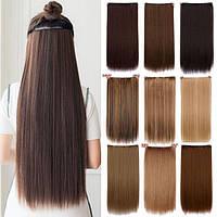 Накладные термостойкие волосы для наращивания на заколках затылочная прядь прямые