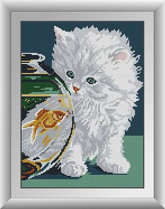 30343 Набор алмазной мозаики Белый котенок, фото 2