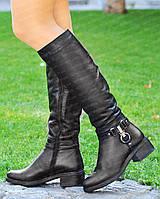 Сапоги женские высокие зимние кожаные от производителя на маленьком низком каблуке (черевики жіночі зимові)