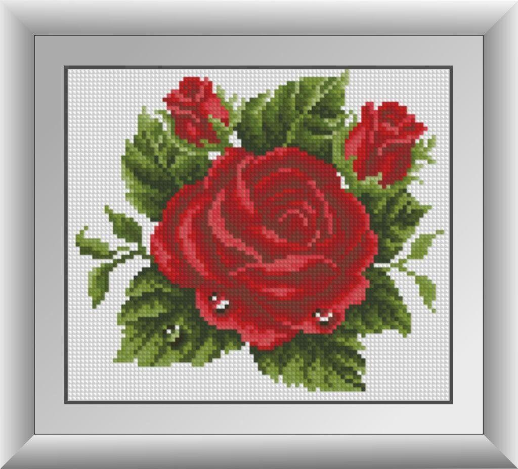 30404 Набор алмазной мозаики Роза в росе