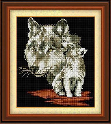 30446 Набор алмазной мозаики Волчица с волченком, фото 2