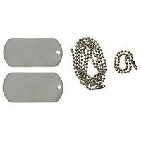 Жетон армейский стальной (2 шт.) US Dog Tag Set MFH серебристого цвета