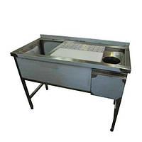 Стол-тумба для обвалки мяса с мойкой и отверстием для отходов, усиленный каркас, 3 борта, дверцы