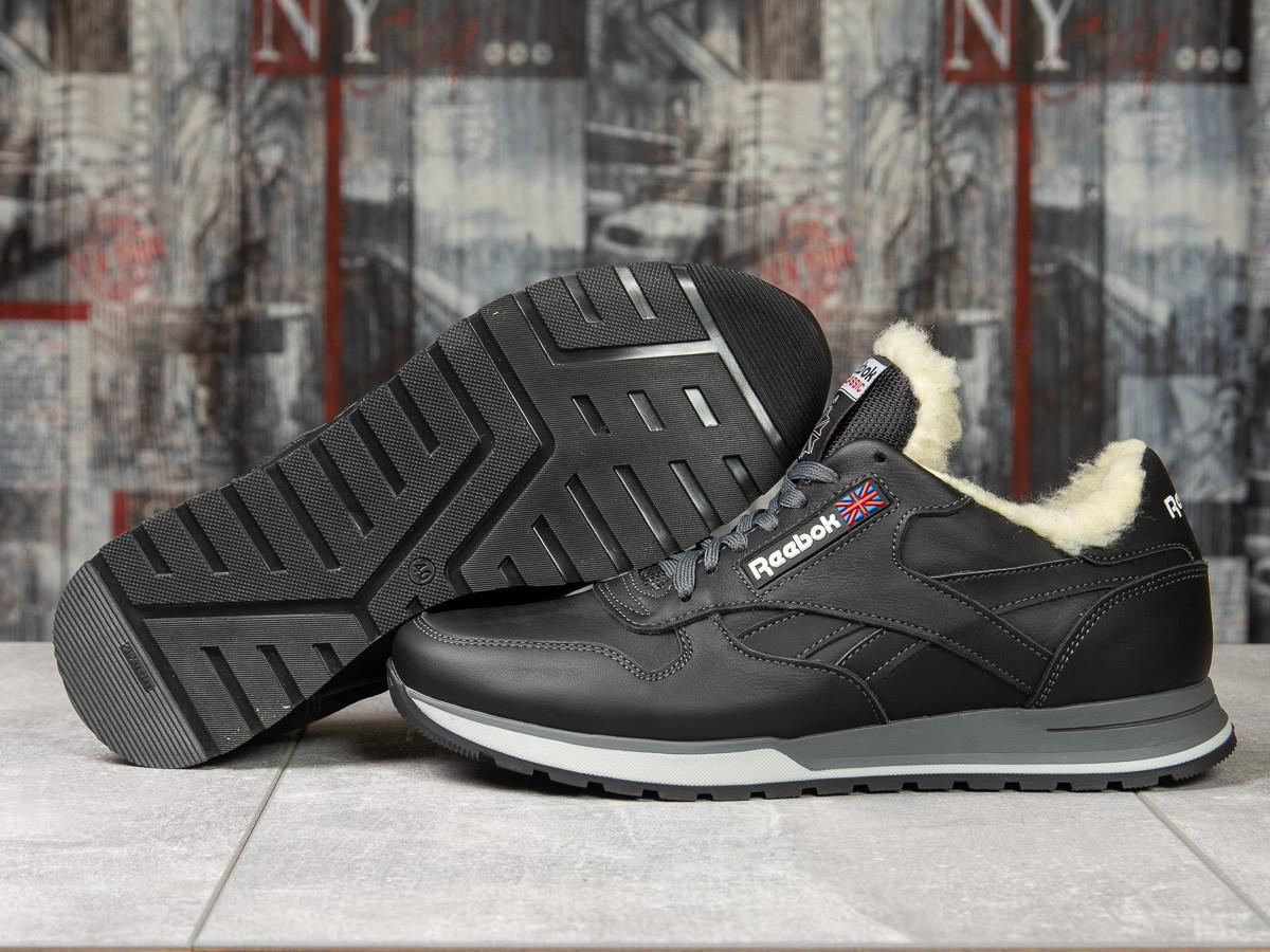 Зимние кроссовки  на мехуReebok Classic, черные (31111) размеры в наличии ► [  (последняя пара)  ]