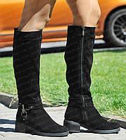 Женские зимние замшевые кожаные сапоги на низком ходу/каблуке от производителя (черевики жіночі зимові)