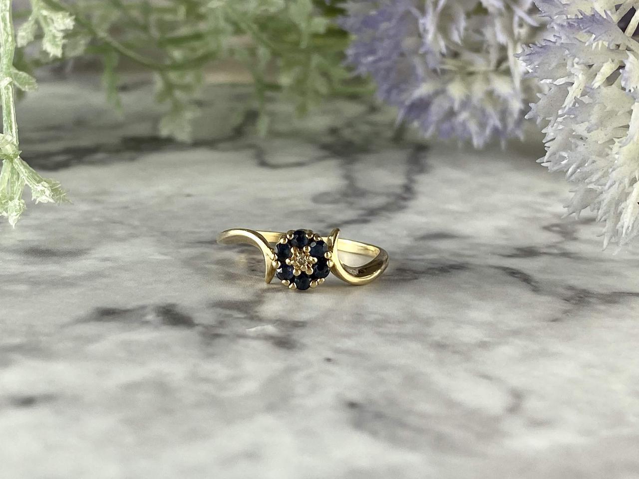 Золотое кольцо с Сапфирами и Бриллиантом   10К (417 проба)