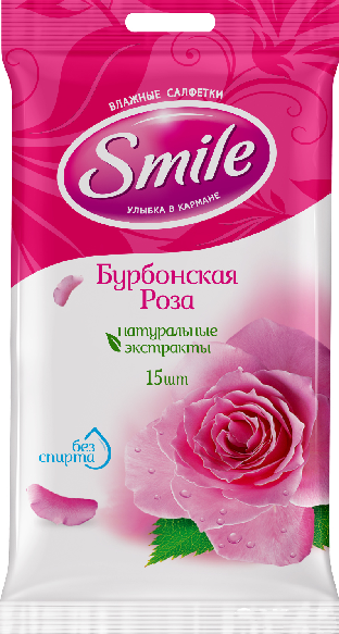 """Салфетки влажные Smile """"Бурбонская роза"""" (15шт.)"""
