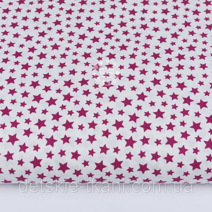 """Лоскут ткани """"Густая насыпь из звёзд разных размеров"""" бордовые на белом, №2109а, размер 46*80 см"""
