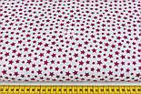 """Лоскут ткани """"Густая насыпь из звёзд разных размеров"""" бордовые на белом, №2109а, размер 46*80 см, фото 2"""