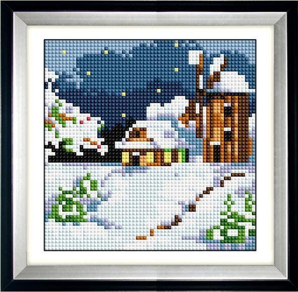 30484 Набор алмазной мозаики Зимняя мельница