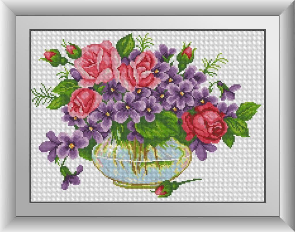 30539 Набор алмазной мозаики Фиалки с розами