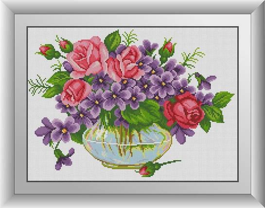 30539 Набор алмазной мозаики Фиалки с розами, фото 2