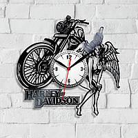 Harley Davidson Часы с мотоциклом Часы виниловые Харли Девидсон Часы в холл Подарок другу Фанату мотоциклов