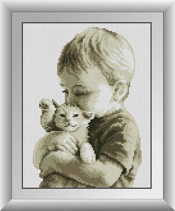 30583 Набор алмазной мозаики Малыш с котенком, фото 2