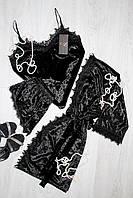 Велюровый черный комплект тройка с французским кружевом, молодежная женская одежда для дома и сна р. 44