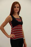 Модная женская майка в мелкую цветную полоску
