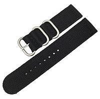 Черный нейлоновый ремешок для часов со стальной пряжкой