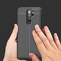 Чехол накладка для Xiaomi Redmi Note 8 Pro черный имитация фактурной кожи черный (black)