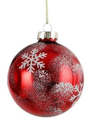 """Елочные стекляные шарики Снежинка, в асс., Ø 7 см., """"House of Seasons"""", красные, глян., фото 2"""
