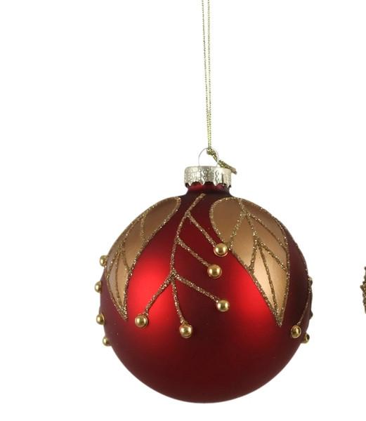 """Елочный стеклянный шарик, Ø 8 см., """"House of Seasons"""", цвет красный, матовый"""