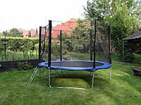 Батут GreenLight діаметром 252см (8ft) спортивний для дітей драбинкою і зовнішньою сіткою
