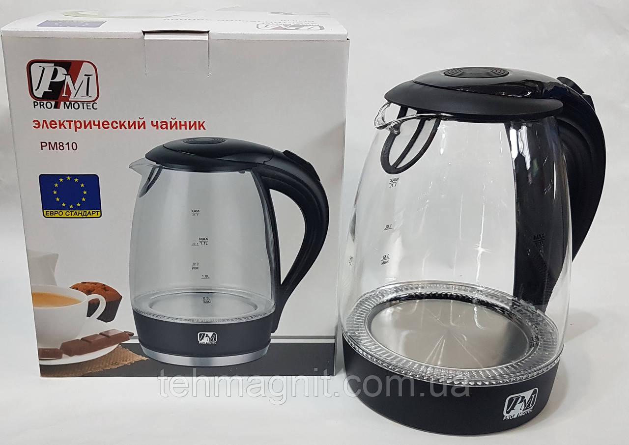 Чайник стеклянный электрочайник Promotec PM-810 с подсветкой 2200W 1.7L