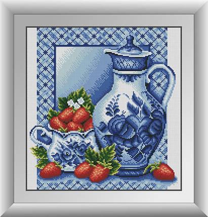 30671 Набор алмазной мозаики Гжель и клубника, фото 2