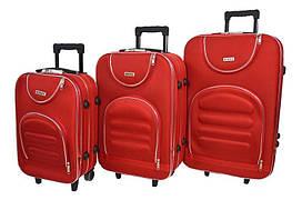 Набір дорожніх валіз на колесах Siker Lux набір 3 штуки Червоний