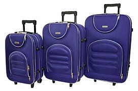 Набір дорожніх валіз на колесах Siker Lux набір 3 штуки Темно-Фіолетовий