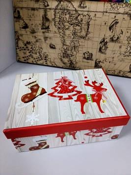 Коробочка подарочная с новогодним рисунком 31 см