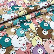 """Турецкая хлопковая ткань ранфорс """"Мишки разноцветные рядами"""" 240 см"""
