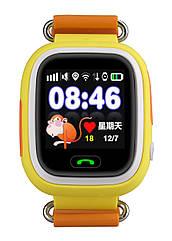 Детские умные смарт часы Q90S/100 с GPS и кнопкой SOS желто-оранжевые