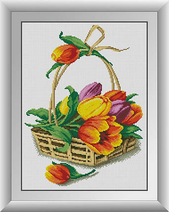 30706 Набор алмазной мозаики Корзина с тюльпанами, фото 2