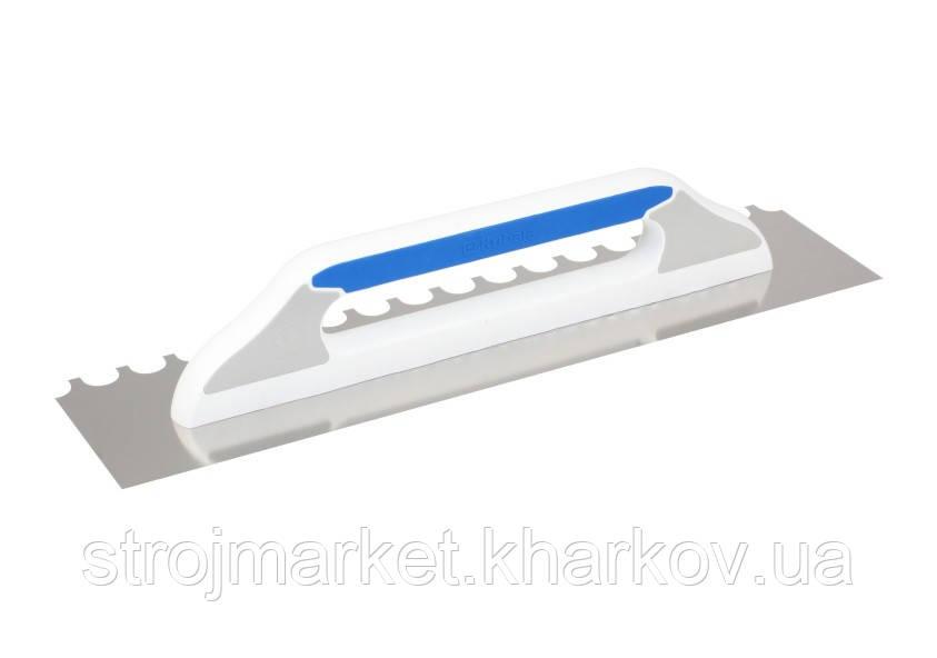 Зубчатая нержавеющая гладилка с полукруглым зубом 130x480мм TM Kubala