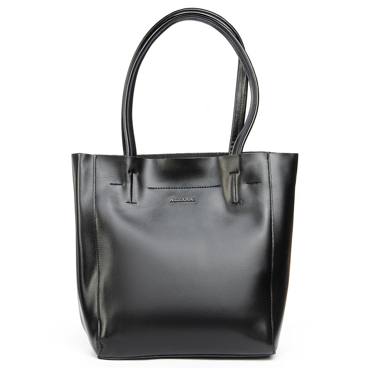 Кожаная женская сумка черного цвета 3397