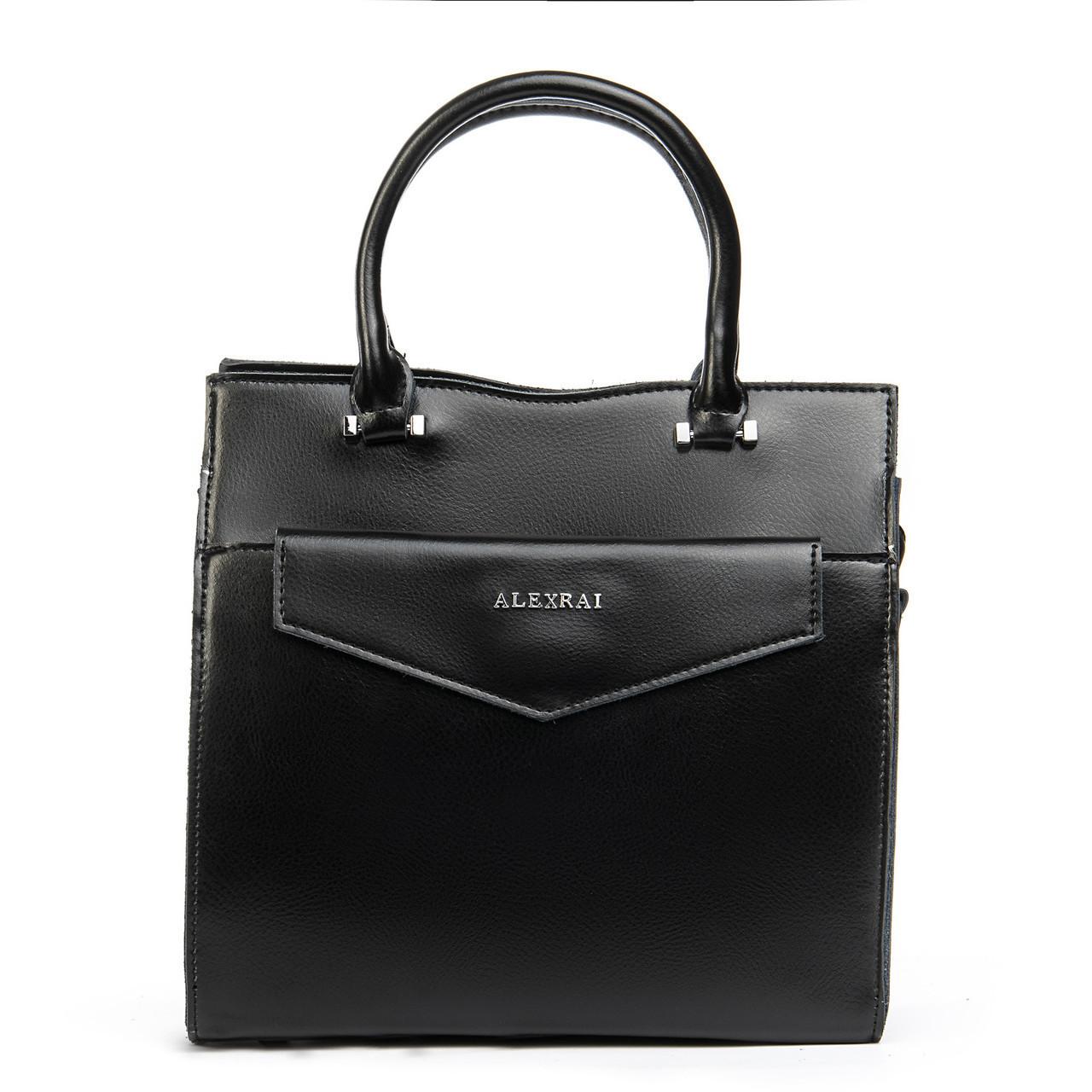 Компактная женская сумка из натуральной кожи в черном цвете + клатч