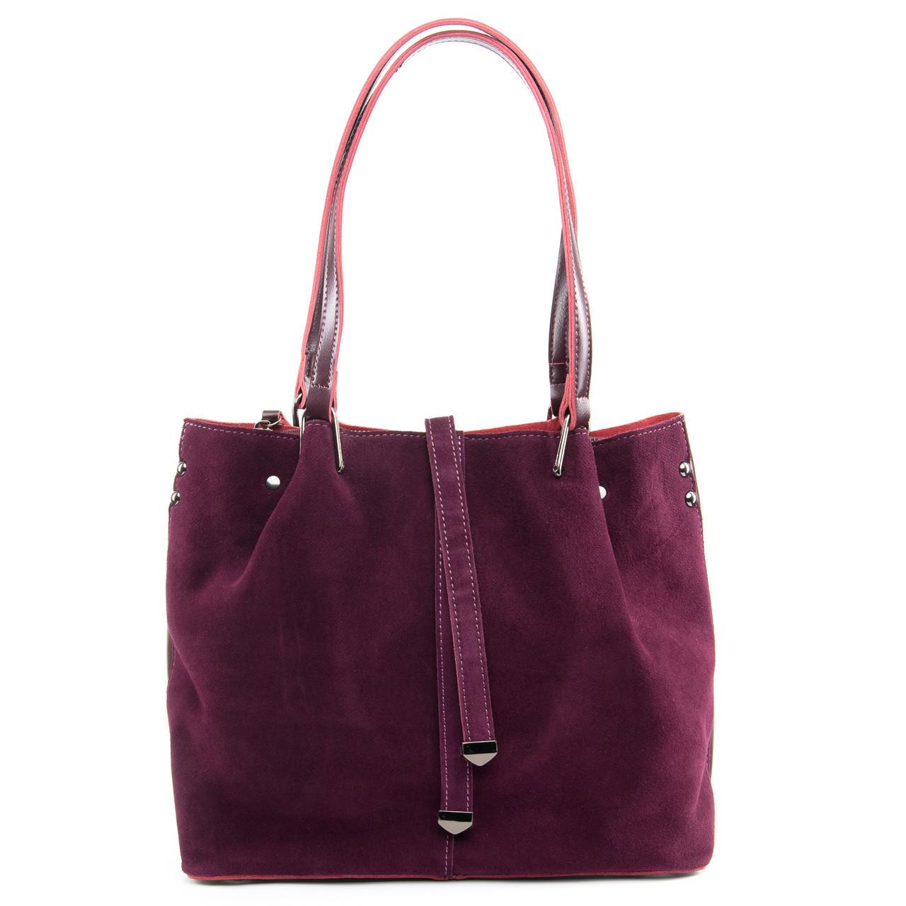 Стильная женская сумка винного цвета из натуральной замши