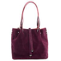 Стильная женская сумка винного цвета из натуральной замши, фото 1