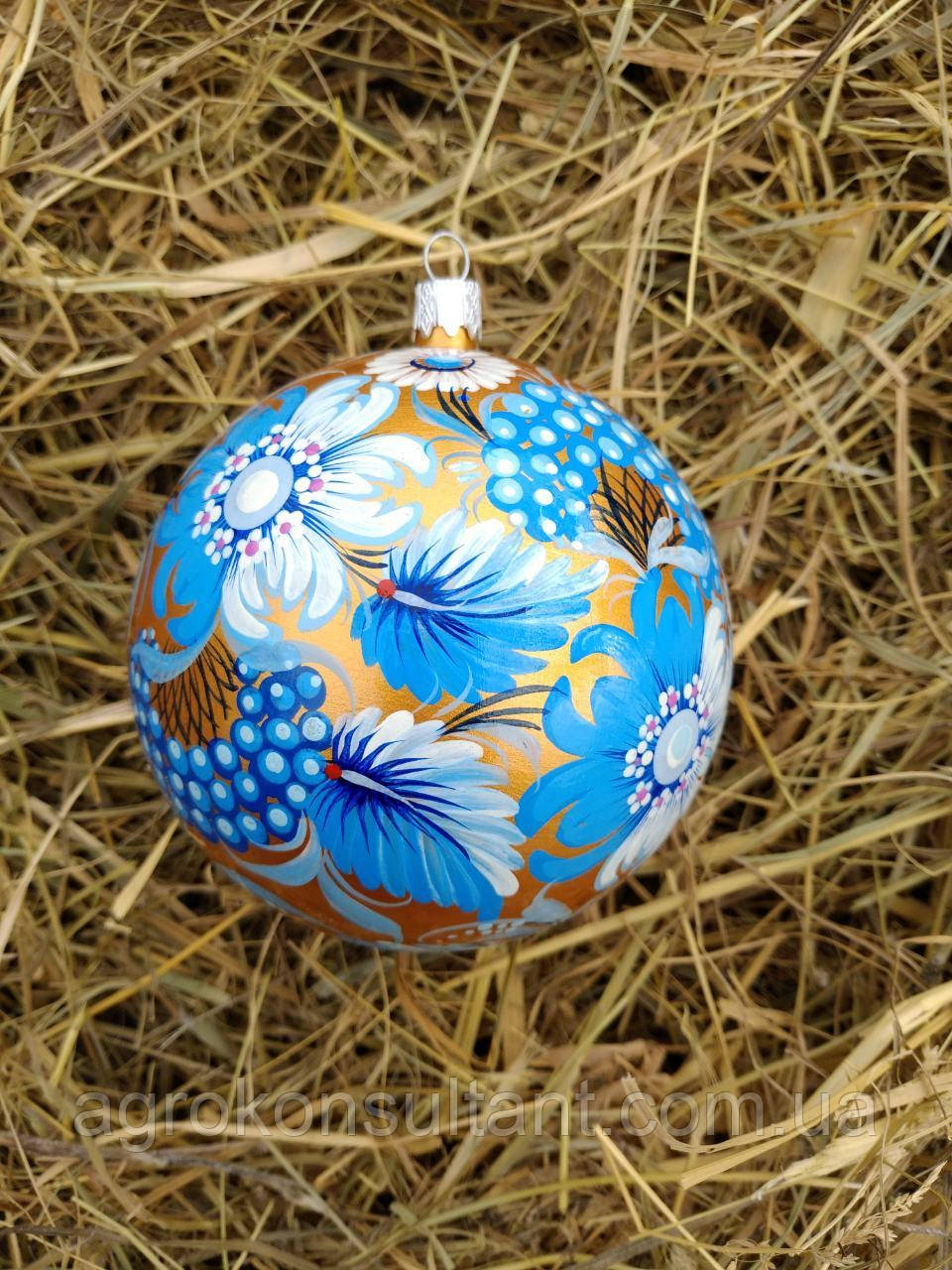 Ёлочный шар голубой, Петриковская роспись (ручная работа) — Christmas ball blue, Petrikov painting (handmade).