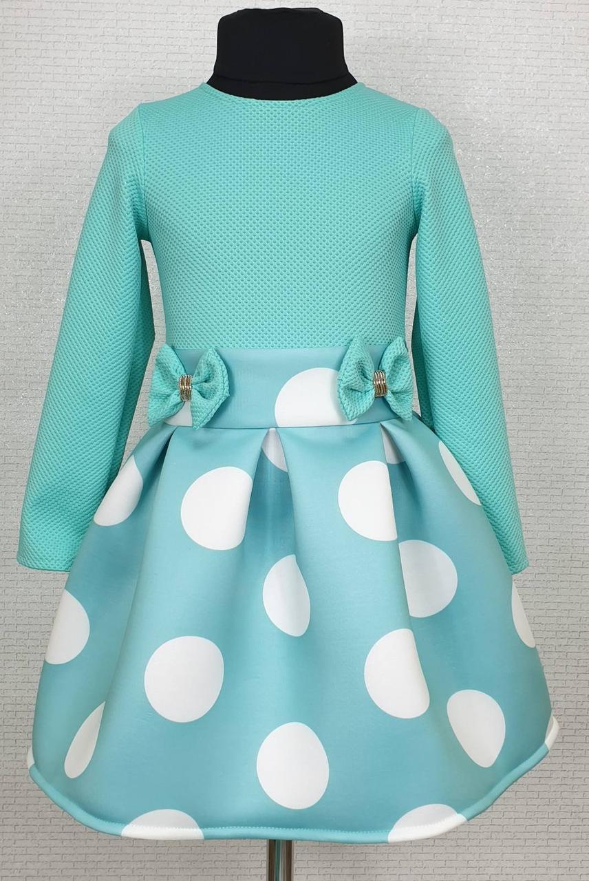 Детское платье для девочки Велина р.104-116 опт мята+белый